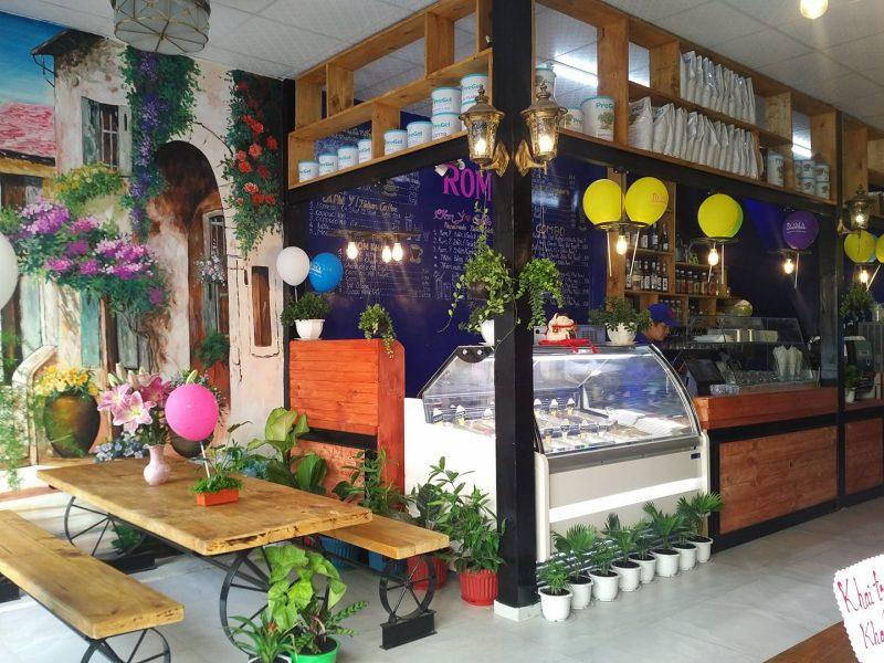 quán kem roma, kem ý và cafe được trang trí rất đẹp mắt